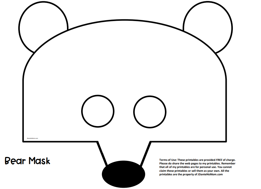 Printable Bear Mask Template