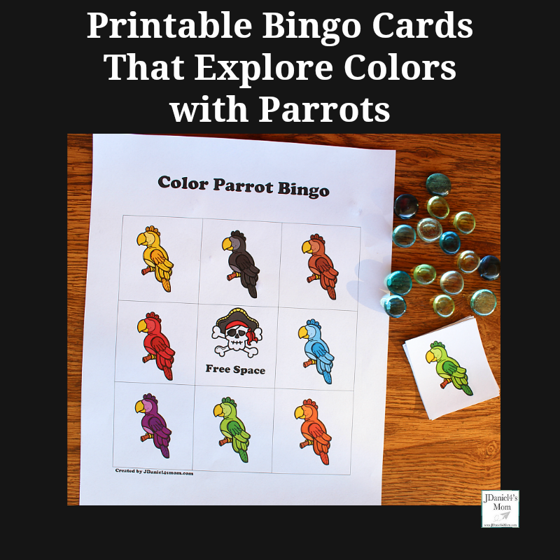 Printable Bingo Cards That Explore Colors with Parrots