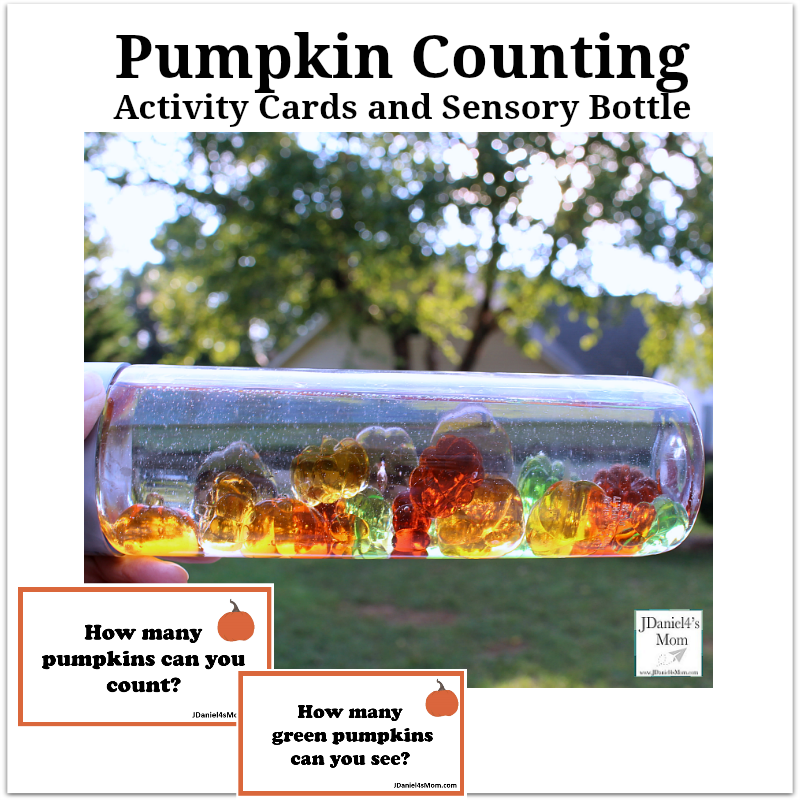 Pumpkin Counting Activity Cards and Sensory Bottle - This activity invites your children at home and students at school to estimate how many pumpkins are in a sensory bottle.