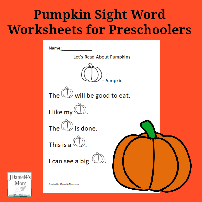 Pumpkin Sight Word Worksheets For Preschoolers Facebookg