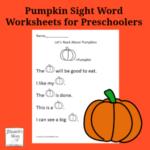 Pumpkin Sight Word Worksheets for Preschoolers