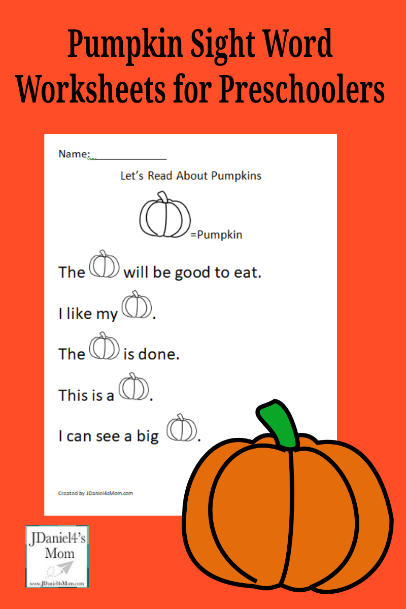 Pumpkin Sight Word Worksheets for Preschoolers- There are three pages in this set. They focus on words found on the pre-primer and primer Dolch word list.