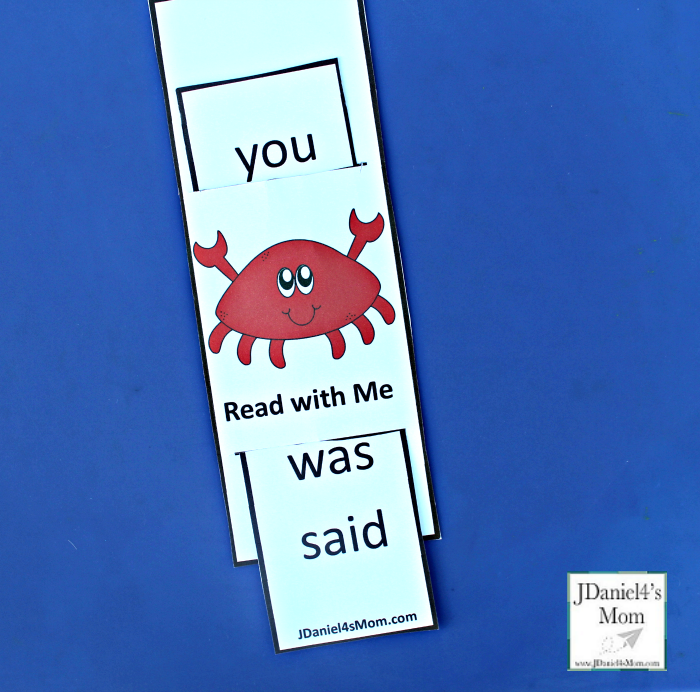 Reading Dolch Words with Crabby the Crab Printables Word Slide- Ready to Read