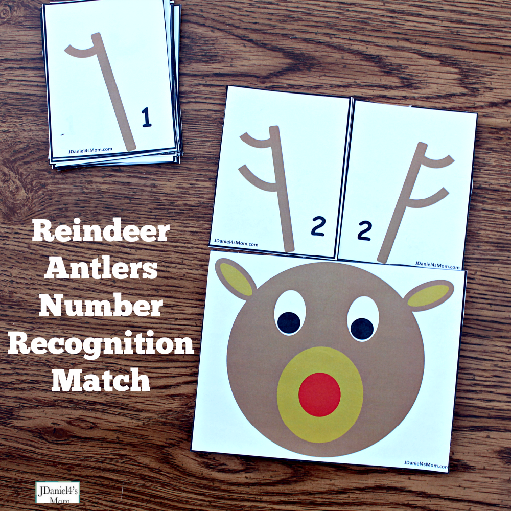 Reindeer Antlers Number Recongition - Students at school or children at home can work on number recognition and counting skills using this free printable set. It includes reindeer counting heads and ten pairs of antlers. Each anter card displays a number in antler points and number form. Children will have fun changing the number o antlers on their reindeer. This pair explores the number two and invited children to look for the card that will match the number one.