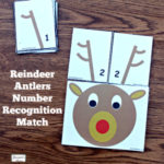 Reindeer Antlers Number Recongition - Students at school or children at home can work on number recognition and counting skills using this free printable set. It includes reindeer counting heads and ten pairs of antlers. Each anter card displays a number in antler points and number form. Children will have fun changing the number o antlers on their reindeer.