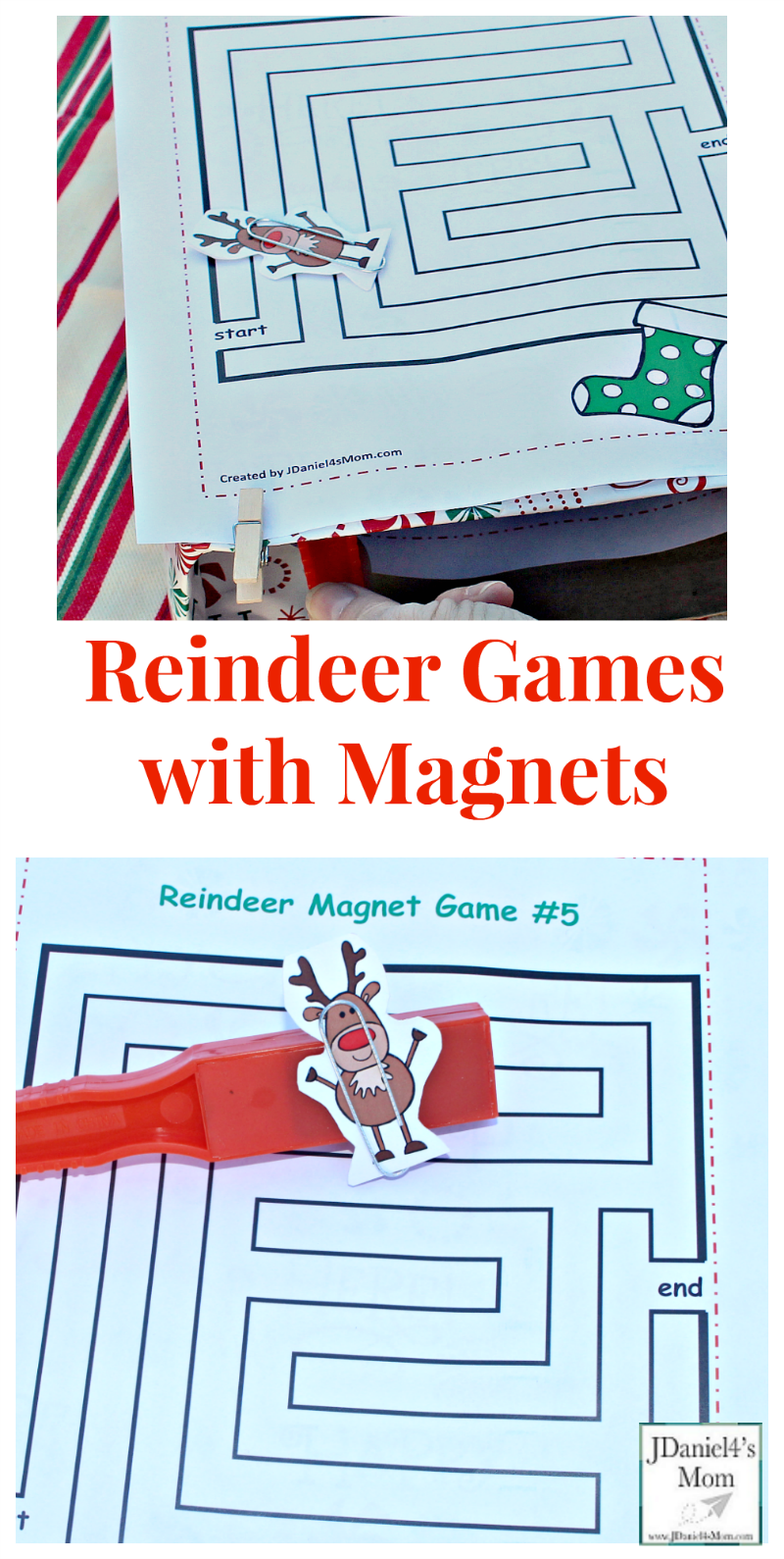 Reindeer Games with Magnets - Your children at home and students at school will have fun exploring this set of five mazes with a magnet wand and card stock reindeer.