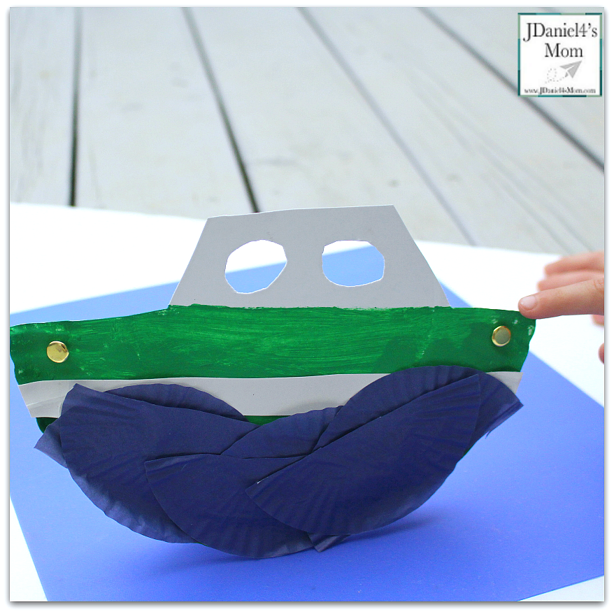 Rocking in the Waves Paper Plate Boat Craft for Display
