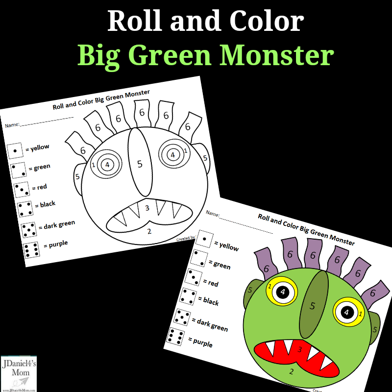 graphic relating to Go Away Big Green Monster Printable Book named Move Absent Environmentally friendly Monster Roll and Shade Math Match