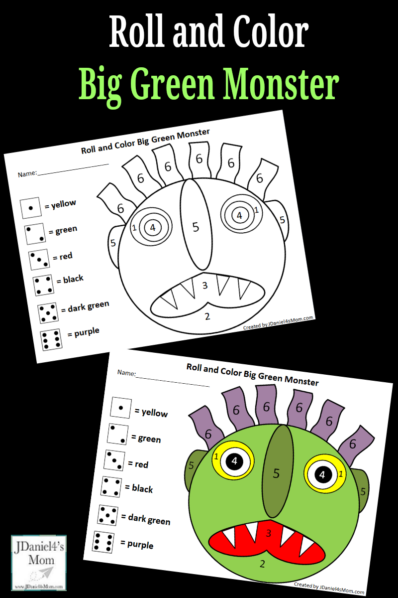 image about Go Away Big Green Monster Printable Book referred to as Shift Absent Inexperienced Monster Roll and Colour Math Match
