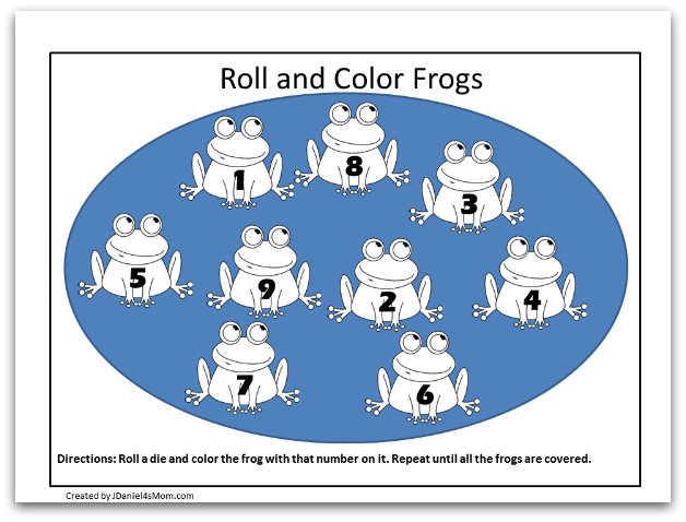 Frog Coloring Pages and Learning Activities- Life Cycle of a Frog Coloring Page- Roll and Color Numbers