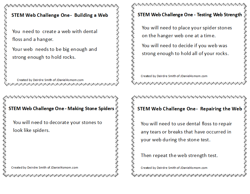 STEM Challenge Spider Web Exploration  Free Printable Cards
