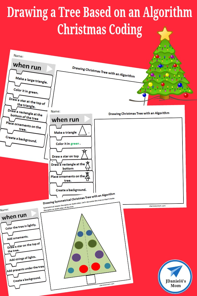 This free set of STEAM printables features three Christmas Coding activities. Your children at home and students at school will fun fun drawing a Christmas tree. The third page in the set focus on symmetry. #christmascoding #Christmas #coding #algorithm #STEAM #christmastree #HourofCode #jdaniel4smom