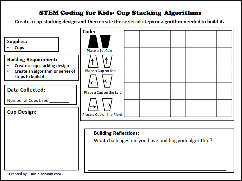 STEM Coding for Kids - Cup Stacking Algorithms Printable