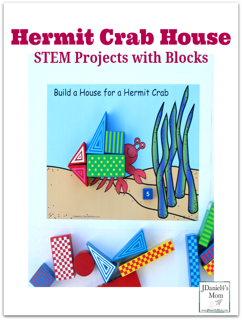 STEM Projects with Blocks: Building a Crab House -There are three STEM project your children can do with this printable building mat. They can engineer a crab house that goes across the crab or builds up from the crab.