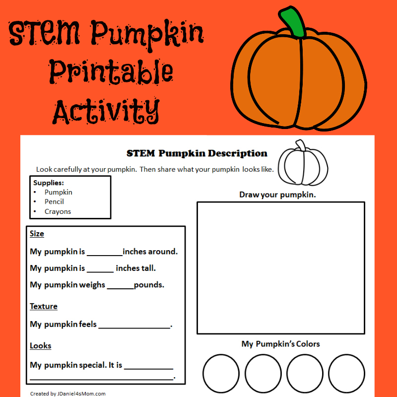 STEM Pumpkin Printable Activity - This STEM activity would ideally be done with individual small pumpkins.