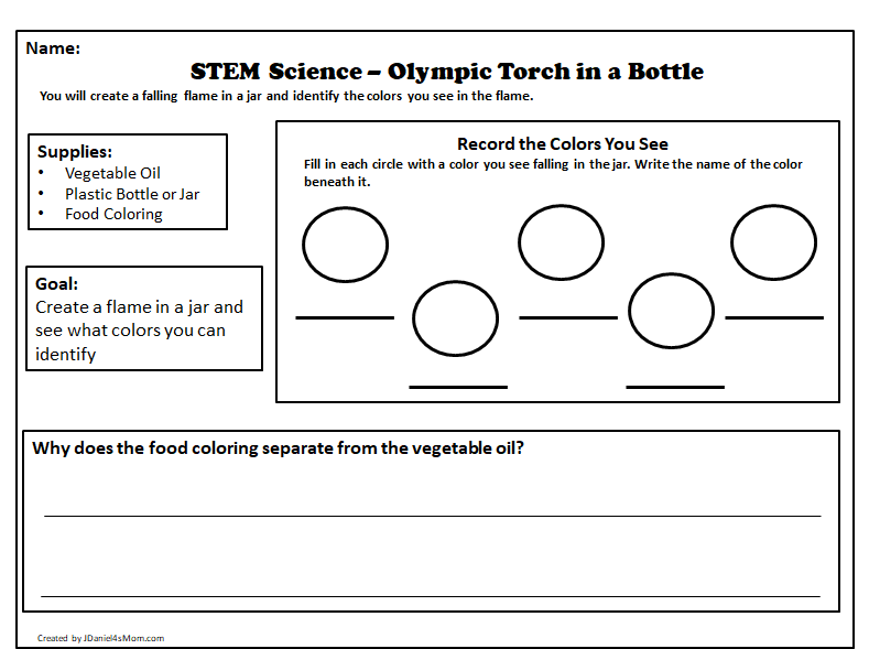 STEM Science Olympic Torch in a Bottle Printable