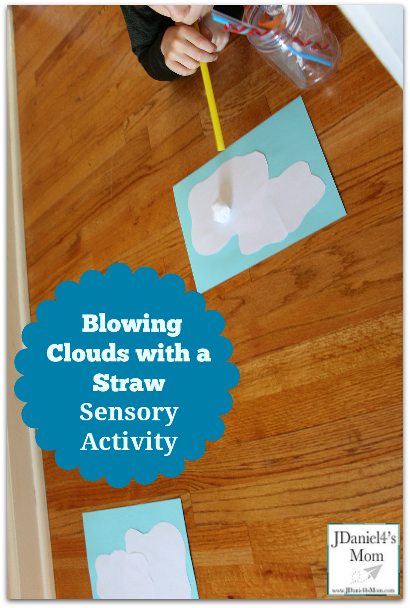 Sensory Activity- Blowing Clouds with a Straw : Children can work on breath control while moving cloud like objects from one cloud to the next.