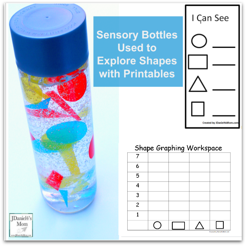Sensory Bottle Used to Explore Shapes with Printables -This set includes a graphing and tally sheet.