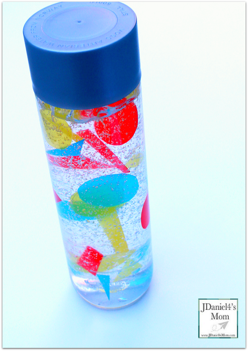 Sensory Bottles Used to Explore Shapes - Close Up of the Sensory Bottle