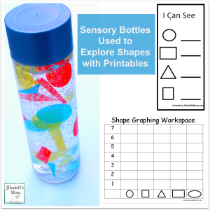 Sensory Bottles Used to Explore Shapes with Printables