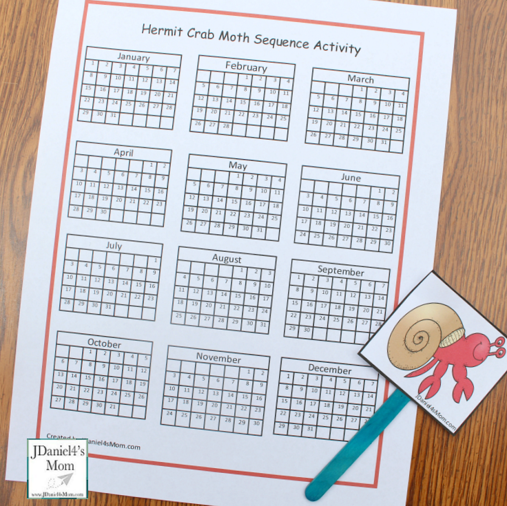 Sequencing Activities Based on a House for a Hermit Crab Calendar Board with Puppet