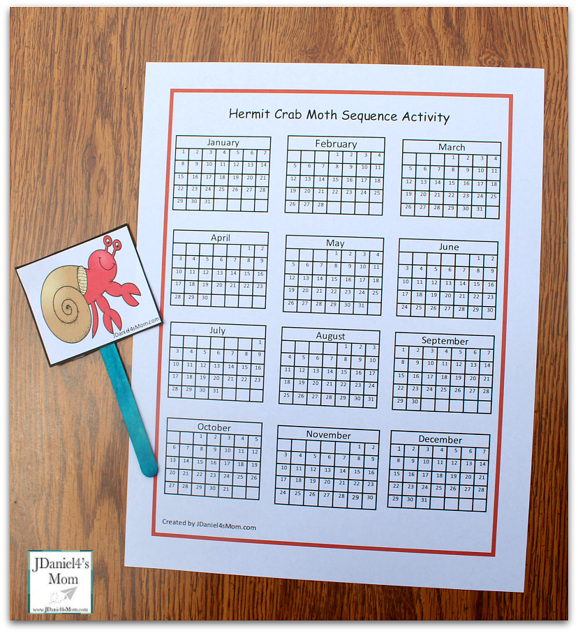 Sequencing Activities Based on a House for a Hermit Crab- Crab Walking the Calendar