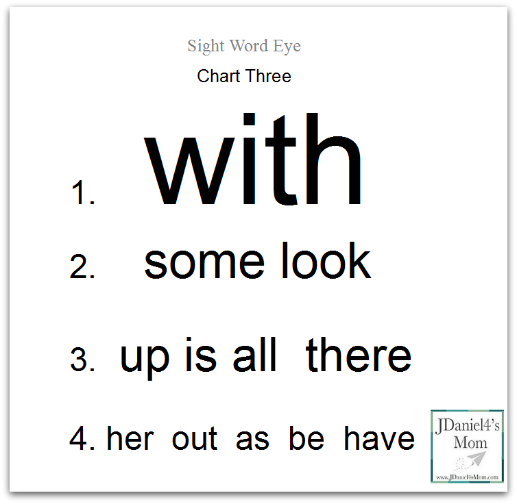 Sight Word Eye Charts Featuring Dolch Sight Words- This post contains a set of 23 sight word eye charts.