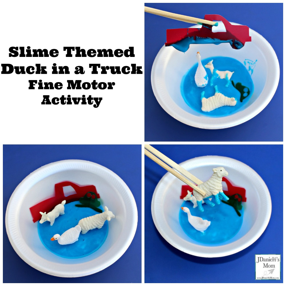 Slime Themed Duck in a Truck Fine Motor Activity