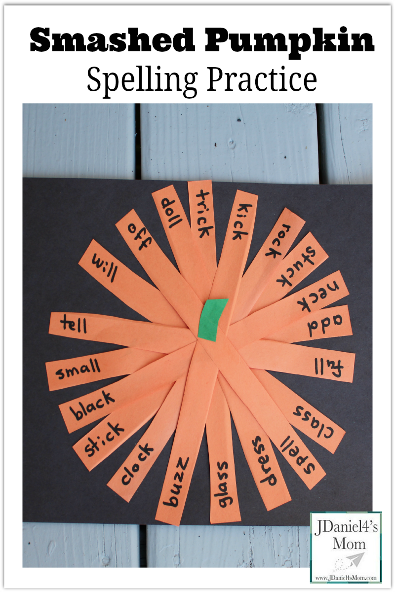 Smashed Pumpkin Spelling Practice- This is a great way to practice writing spelling words. Kids get to craft a pumpkin with the words they have written.