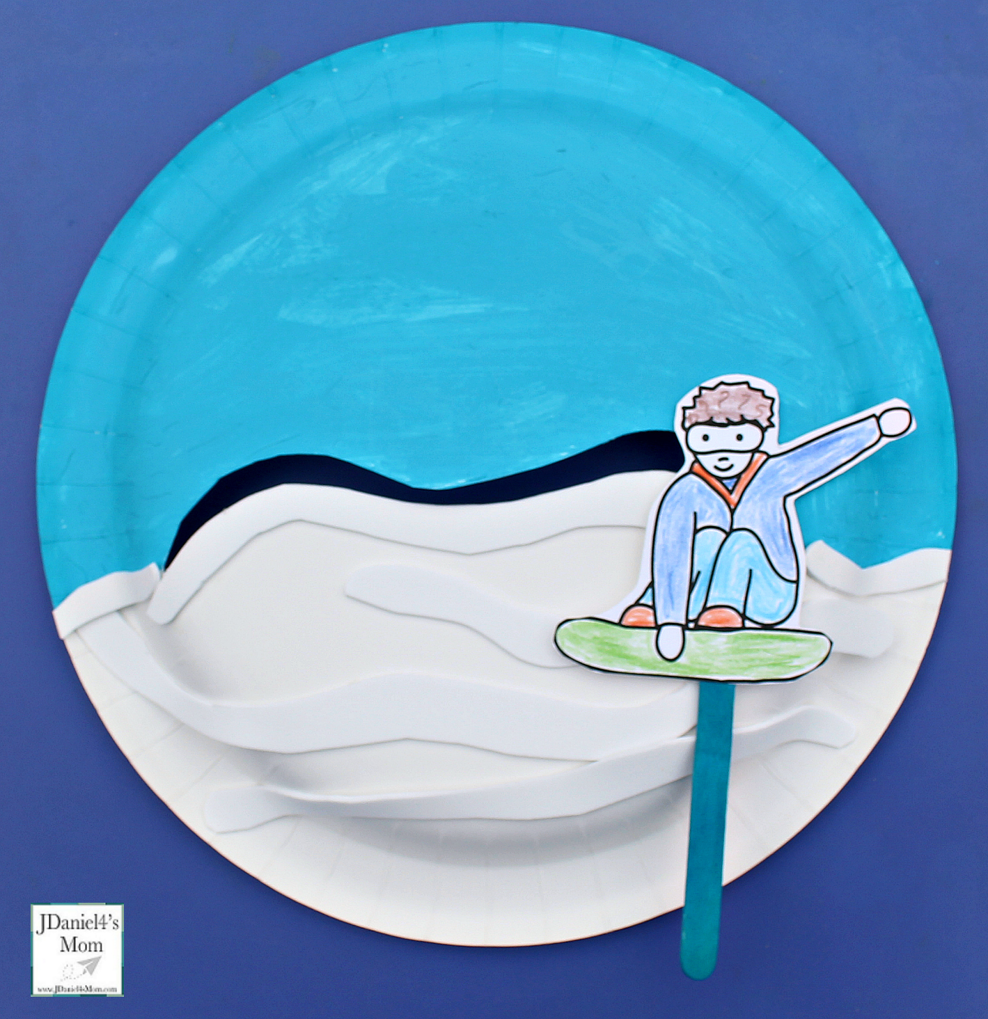 Snowboarding Downhill Interactive Paper Plate Crafts - Finished Plate and Snowboarder