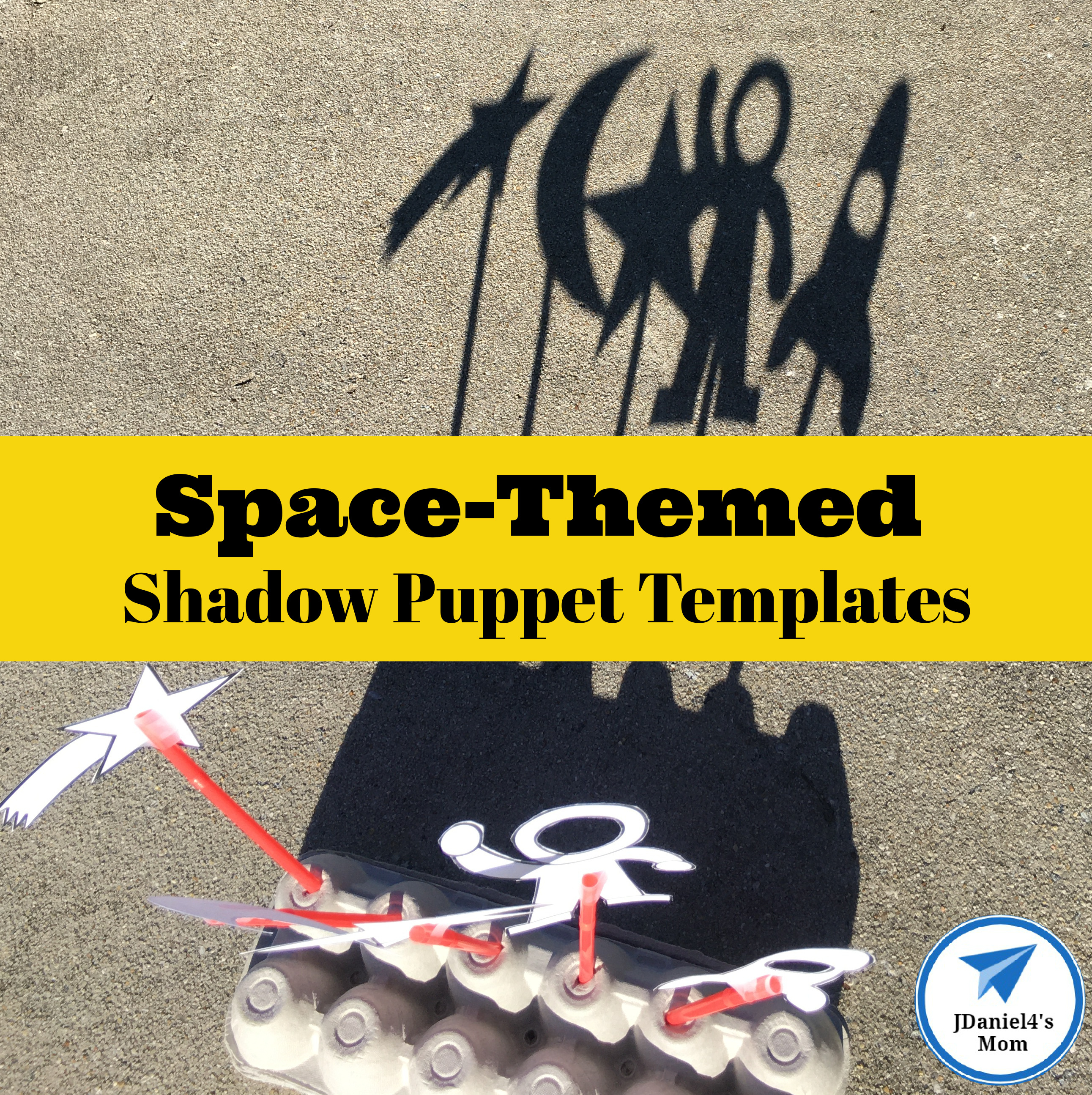 Space-Themed Shadow Puppet Templates Square