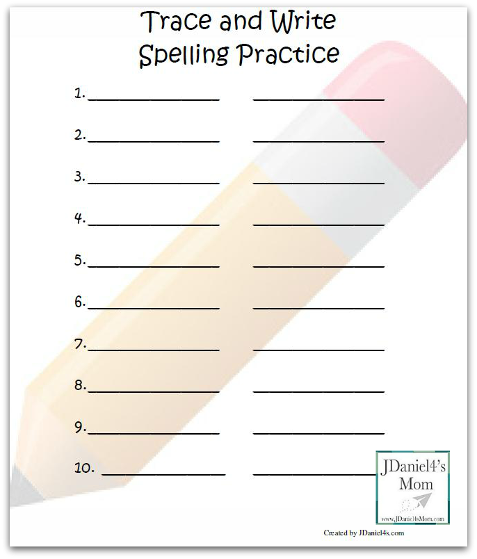 Spelling Activities Trace And Write