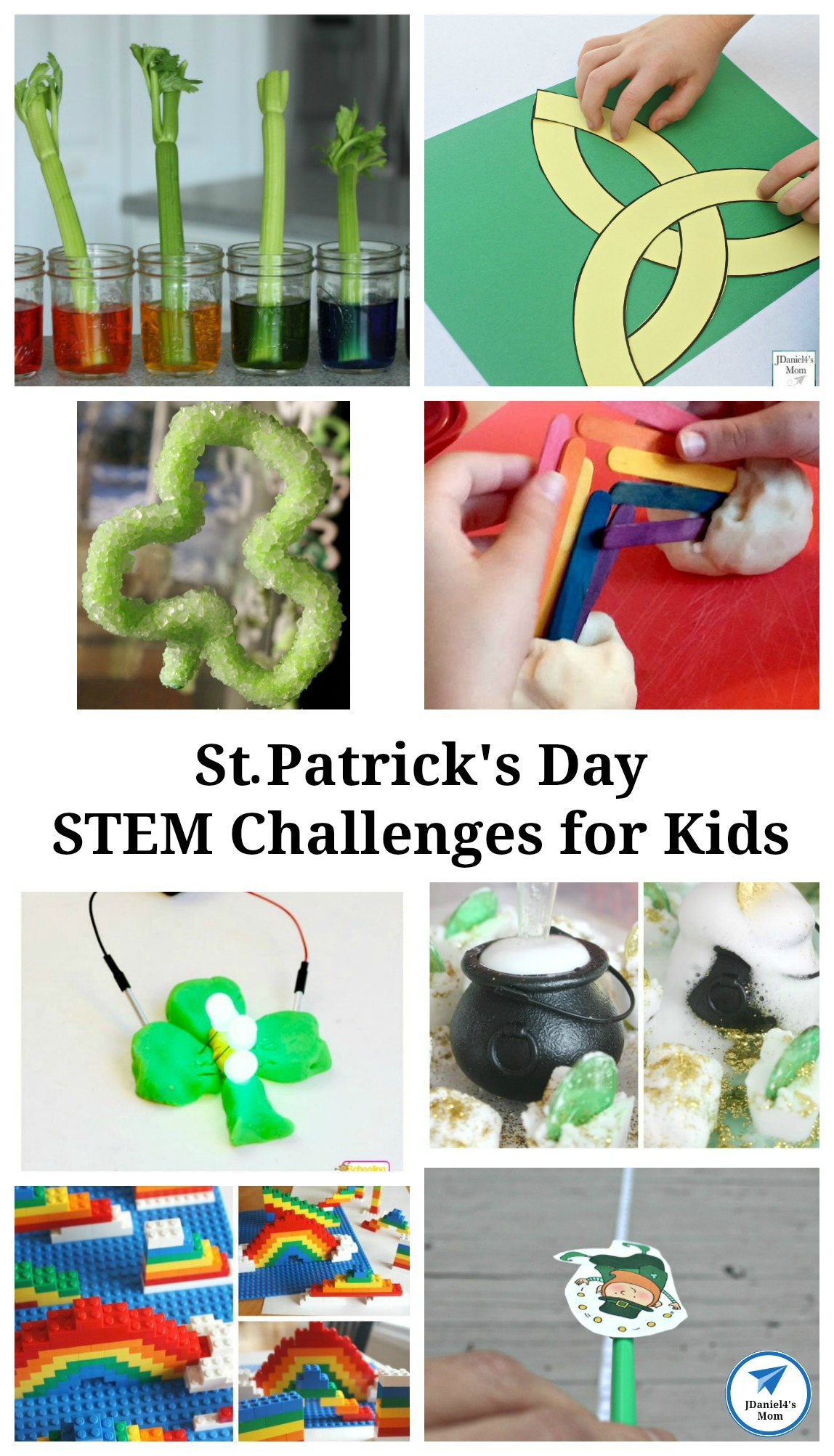 This collection St Patrick's Day STEM Challenges for Kids features rainbows, leprechauns, shamrocks and bits of Irish culture. Your students at school and children at home will have fun exploring them. #stpatricksday #shamrock #celticknot leprechaun #STEM #STEMchallenges #kidsactivities #jdaniel4smom