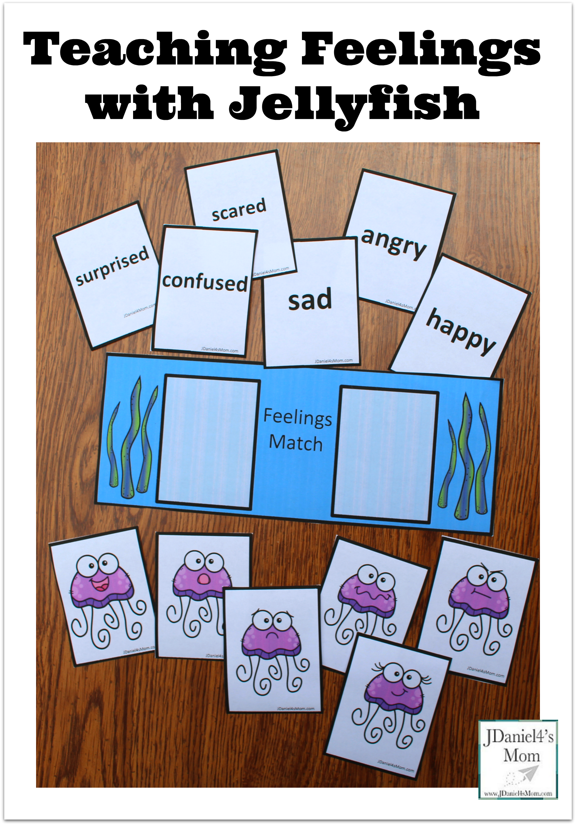 This set of teaching feelings with jellyfish printables includes feeling cards, jellyfish cards with various facial expressions and a work mat.