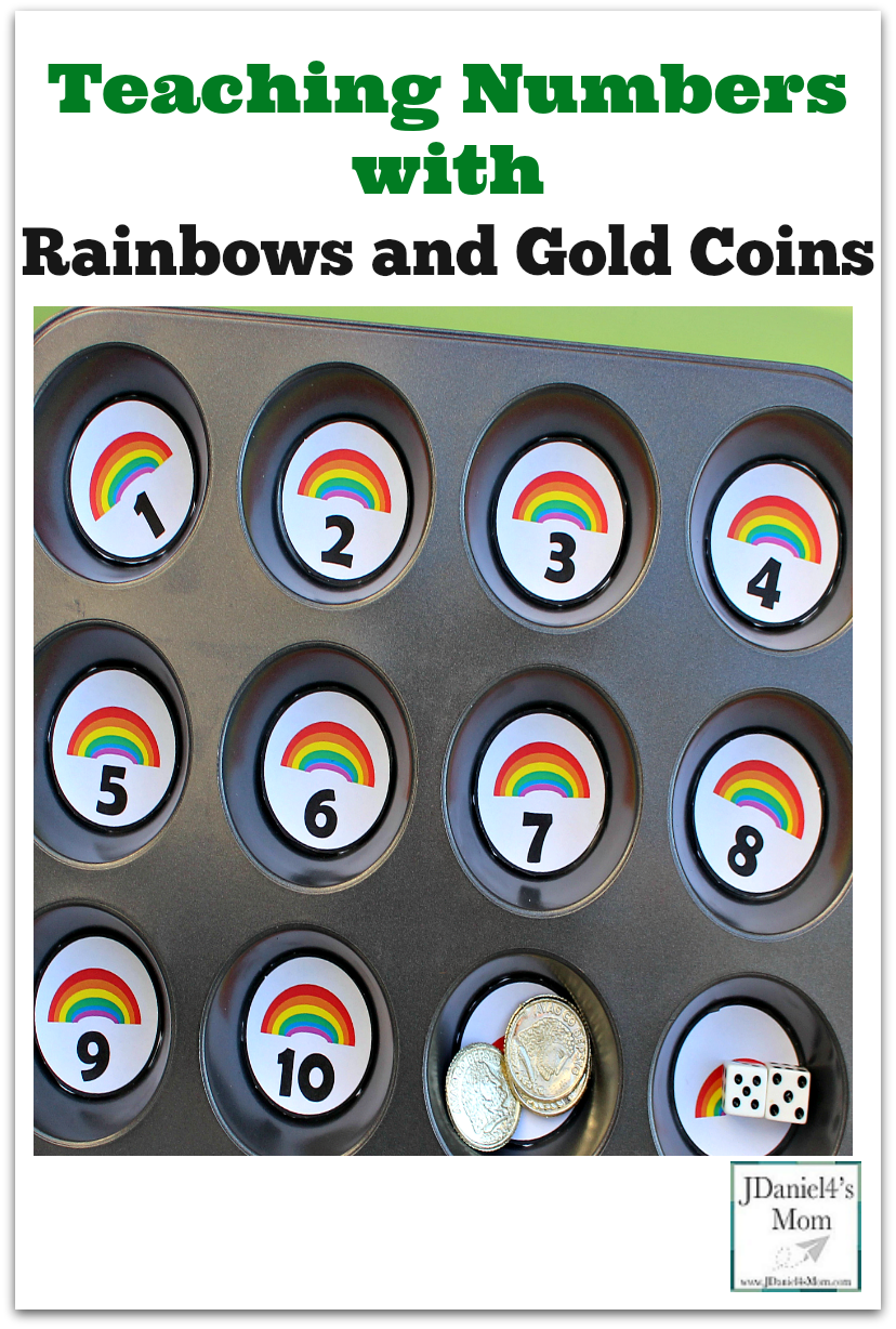 Teaching Number with Rainbows and Gold Coins- This set is a great way to work on number recognition.