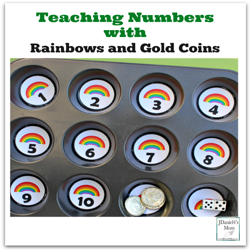 Teaching Numbers with Rainbows and Gold Coins - This free printable set of rainbow numbers can be used to help children learn to count and recognize numbers.