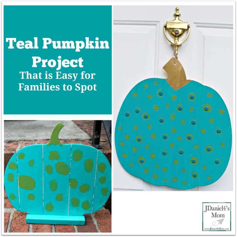 Teal Pumpkin Project That is Easy for Families to Spot- Both my son and I created teal pumpkin projects