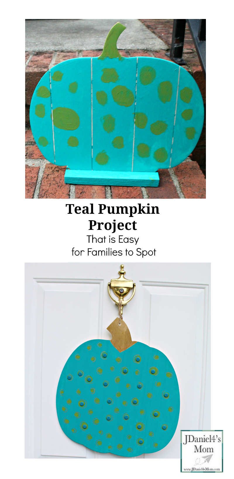 Teal Pumpkin Project That is Easy for Families to Spot - Your children at home or students at school can decorate wooden pumpkins with teal paint and fun craft supplies.