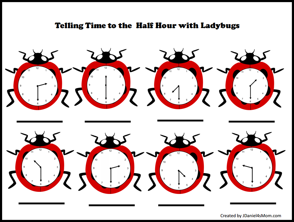 Telling Time Worksheets with Ladybugs – Time to the Hour and Half Hour Worksheets