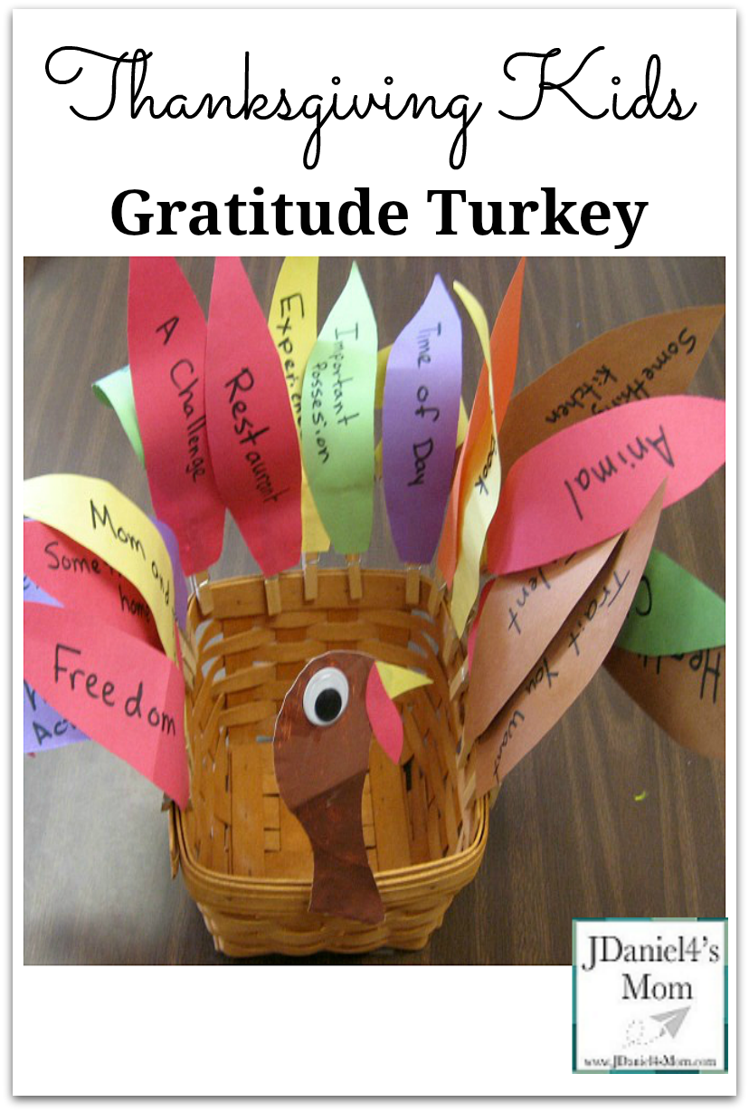 Thanksgiving Kids -Gratitude Turkey : The feathers list things you children can give thanks for.