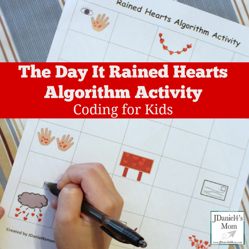 The Day it Rained Hearts Algorithm Activity- This fun printable is a great way to work on story retelling and coding.