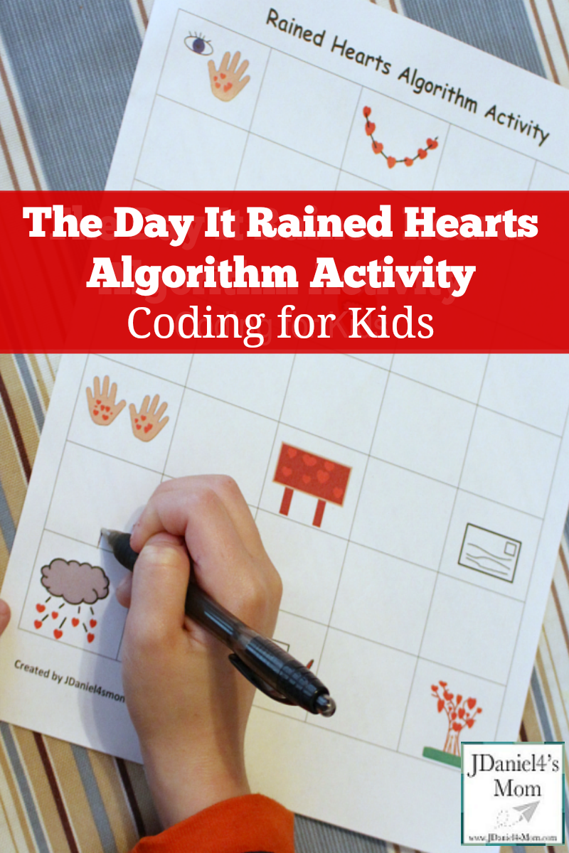 The Day it Rained Hearts Algorithm Activity - This printable works on story sequencing and coding.