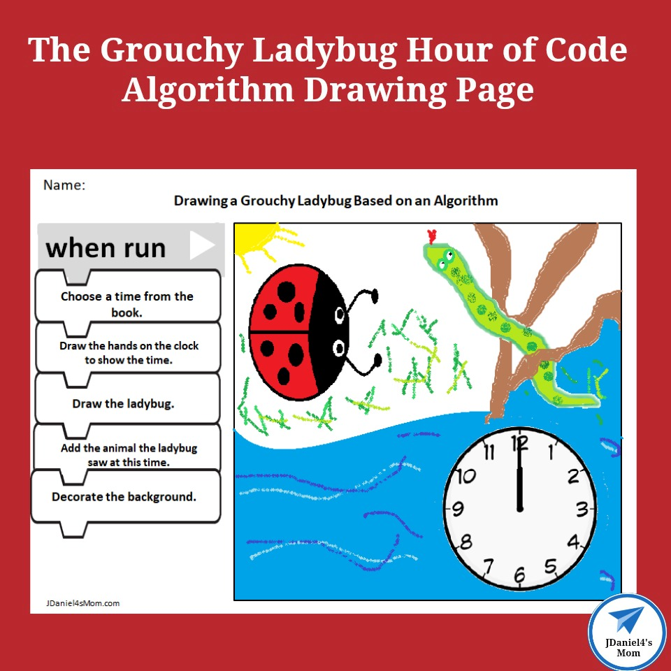 The Grouchy Ladybug Hour of Code Algorithm Drawing Page