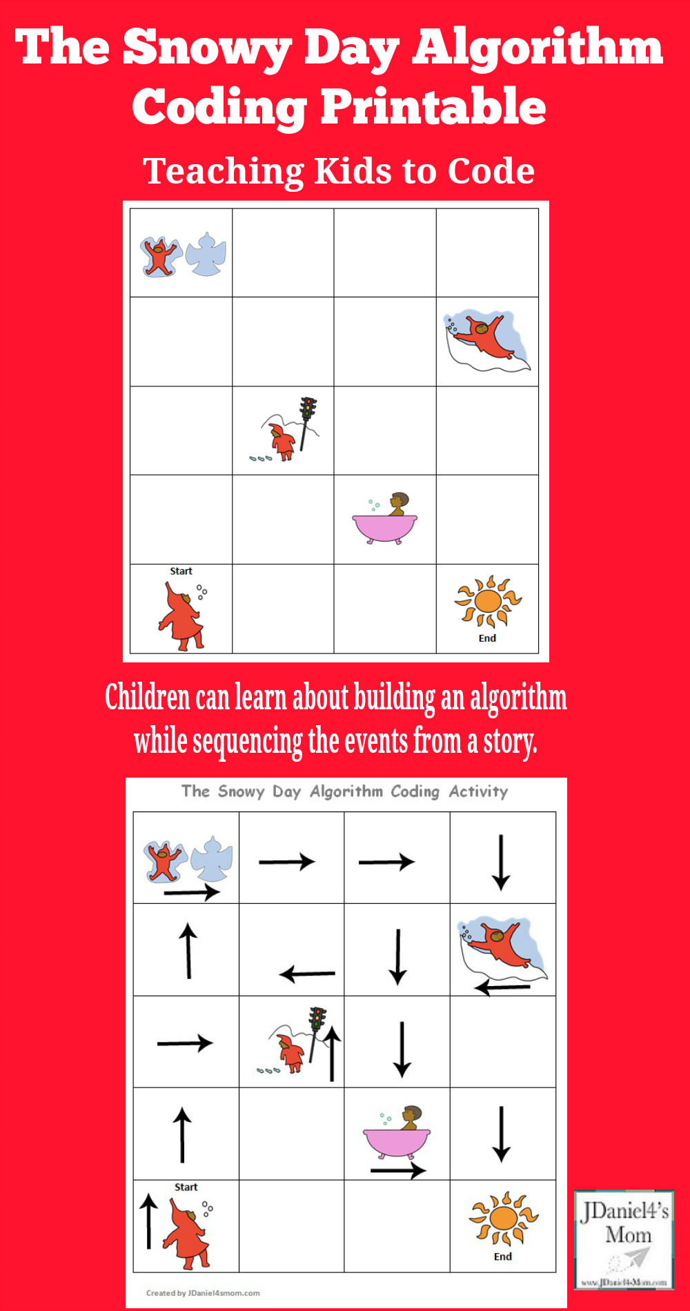 Teaching Kids to Code : The Snowy Day Coding Algorithm Activity Printable - Children at home and students at school can learn about building algorithms by sequencing the events in a popular children's book.