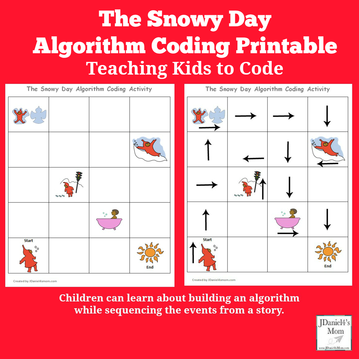 Teaching Kids to Code -The Snowy Day Algorithm Coding Printable