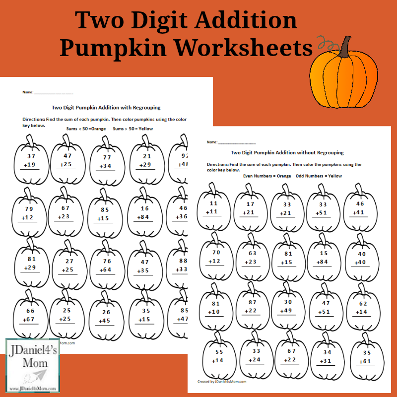 Two Digit Addition Pumpkin Worksheets