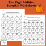 Two Digit Addition Pumpkin Worksheets in a Set