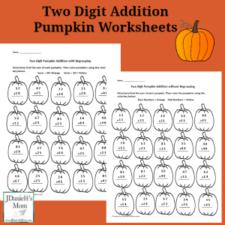 Two Digit Addition Pumpkin Worksheets