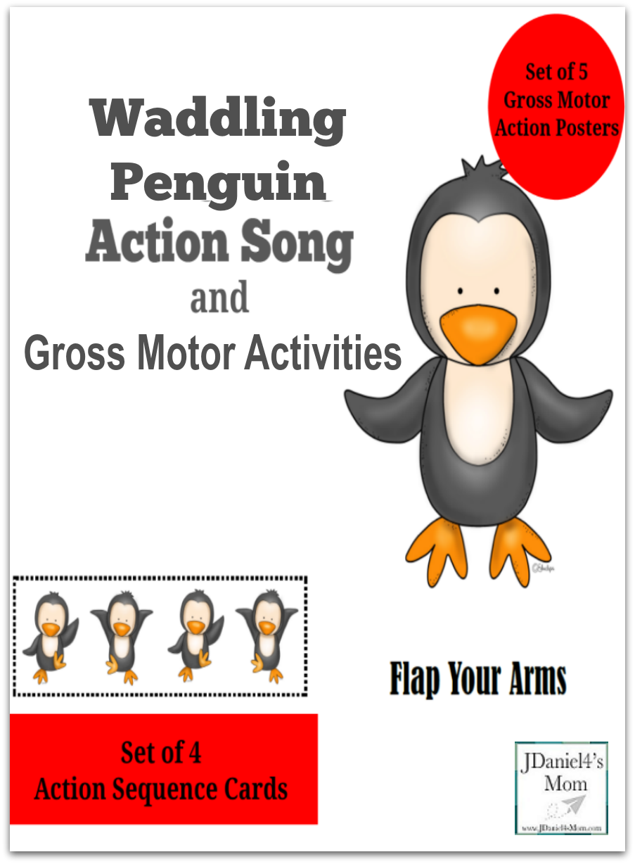 Waddling Penguin Action Song and Gross Motor Activity- This set contains 5 gross motor action poster and 4 gross motor sequence cards. This is one of the sequence cards.