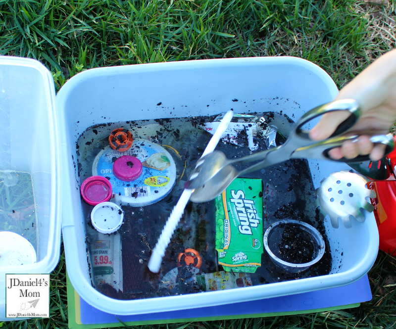 Water Pollution Experiments for Kids - Salad Tongs were great for removing trash.